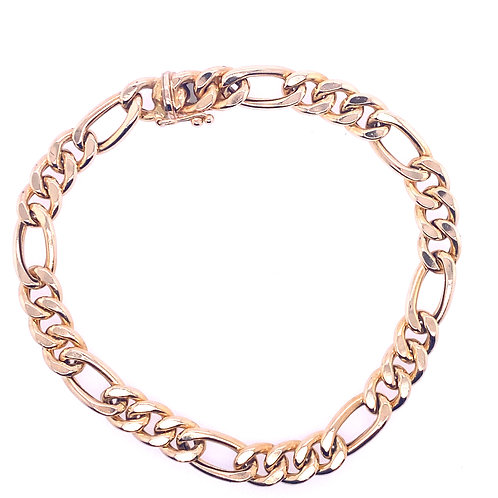 Estate 14kt Yellow Gold Hollow Figaro Link Bracelet