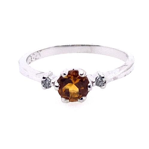 14kt White Gold Citrine And Diamond Ring