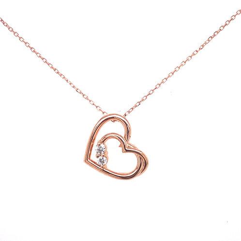 14kt Rose Gold Diamond Heart Pendant