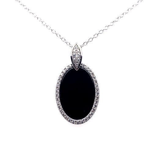 Sterling Silver Black Agate And Cubic Zirconia Pendant