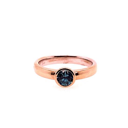 14kt Blue Zircon Bezel Set Ring