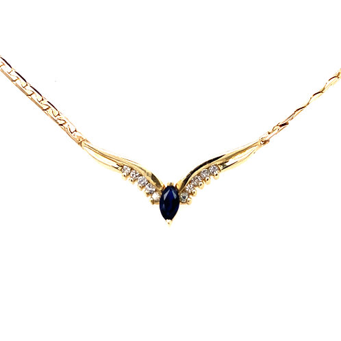 Estate 14kt Yellow Gold Sapphire And Diamond Necklace
