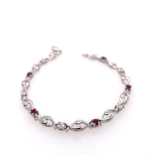 Sterling Silver Ruby and Diamond Bracelet