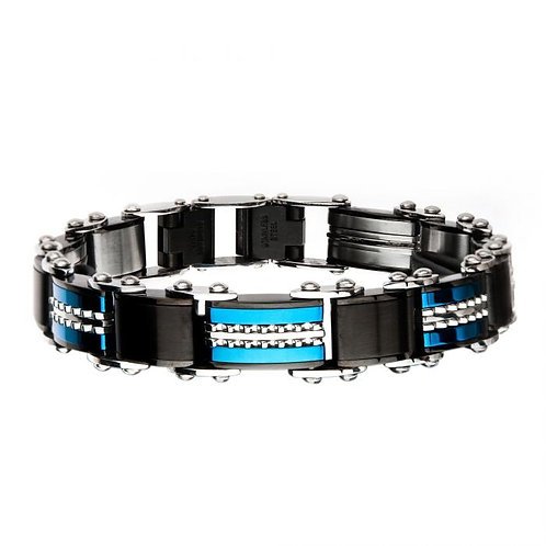 Stainless Steel Black/Blue Reversible Bracelet