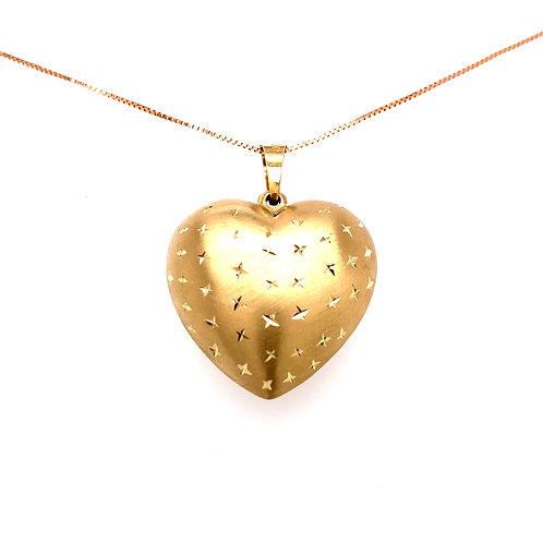 Estate 14kt Two Tone Gold Puff Heart Pendant
