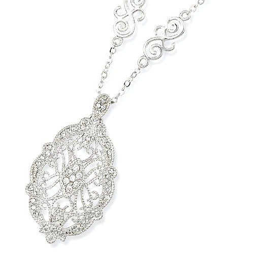 Sterling Silver Vintage Oval Filigree Design Pendant