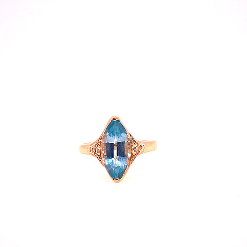Estate 14kt Yellow Gold Blue Topaz Marquise Shape Ring