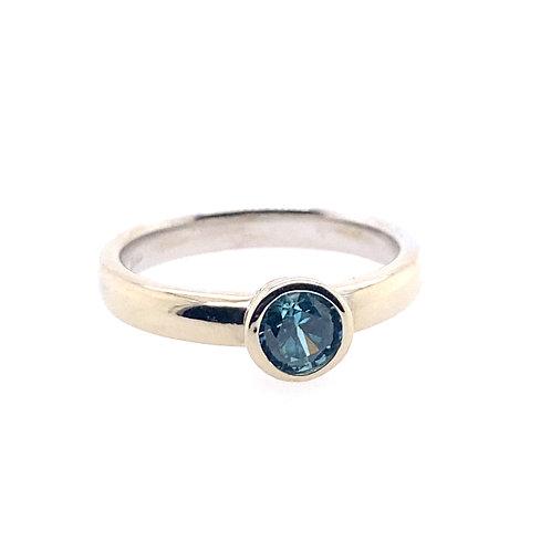 14kt White Gold Blue Zircon Bezel Set Ring