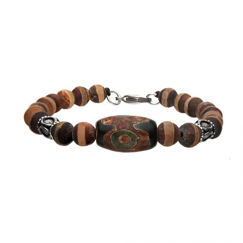 Stainless Steel Brown Agate Stone Bracelet