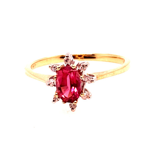 Estate 14kt Yellow Gold Pink Tourmaline With Diamonds Ring