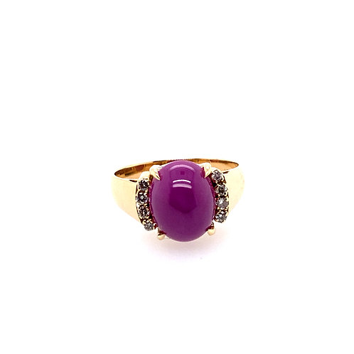 Estate 18kt Yellow Gold Diamond And Synthetic Star Ruby Lady's Ring