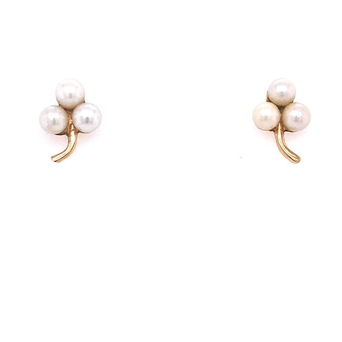Estate 14kt Yellow Gold Three Pearl Post Earrings