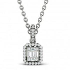 14kt White Gold Diamond Baguette Pendant