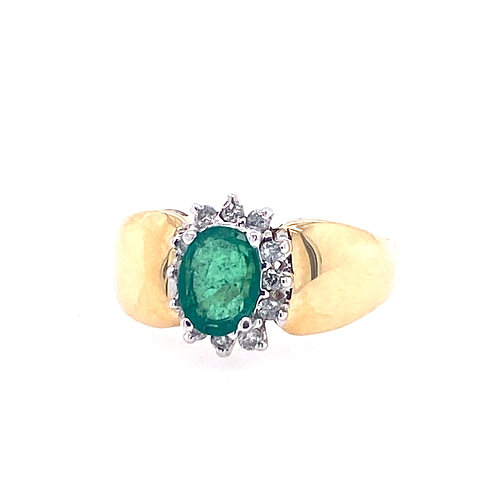 Estate 14kt Yellow Gold Emerald And Diamond Ring