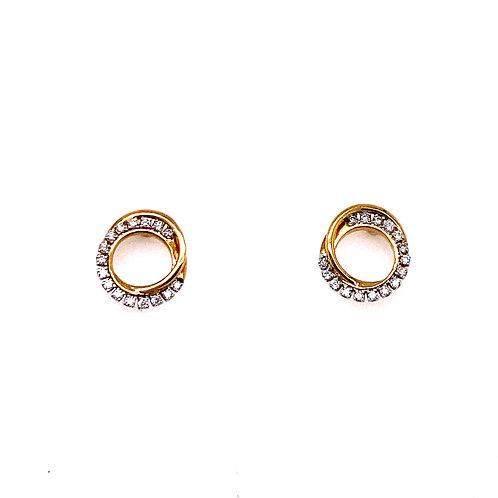 10kt Yellow Gold Diamond Circle Earrings