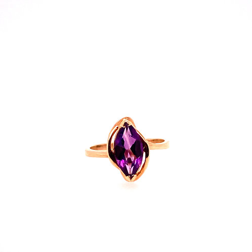 Estate 10kt Yellow Gold Marquise Amethyst Ring