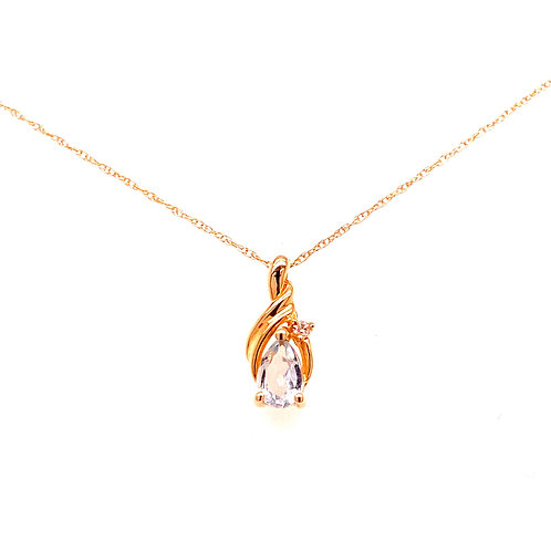 Estate 14kt Yellow Gold Aquamarine And Diamond Pendant