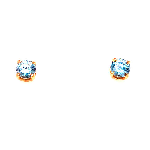 14kt Yellow Gold Round Blue Zircon Stud Earrings