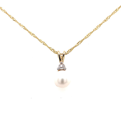 Estate 14kt Yellow Gold Pearl And Diamond Pendant