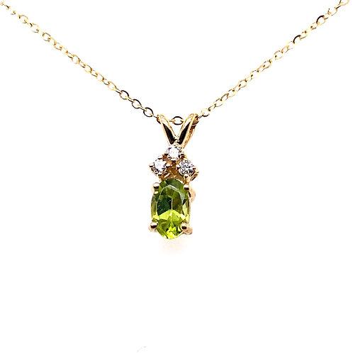 14kt Yellow Gold Peridot And Diamond Pendant
