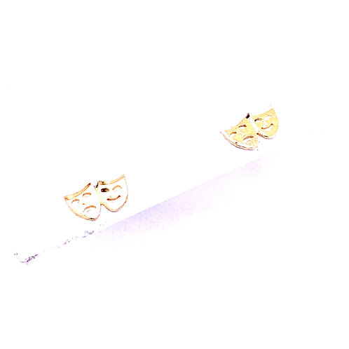 Estate 14kt Yellow Gold Drama Mask Earrings