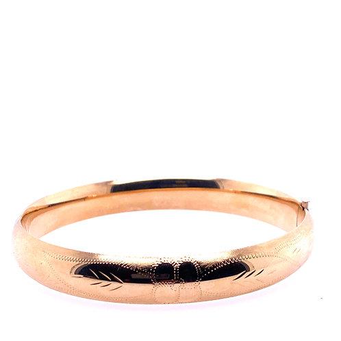 Estate 14kt Yellow Gold Engraved Design Bangle Bracelet