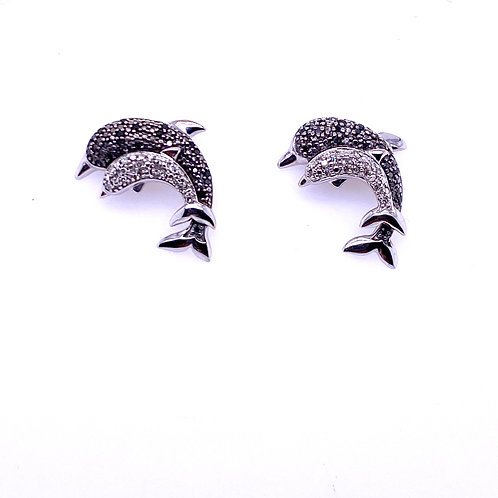 Estate 14kt White Gold 2 Dolphins Black And Clear Diamond Earrings