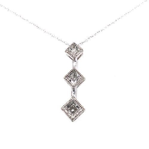 Estate 10kt White Gold 3 Diamond Pendant