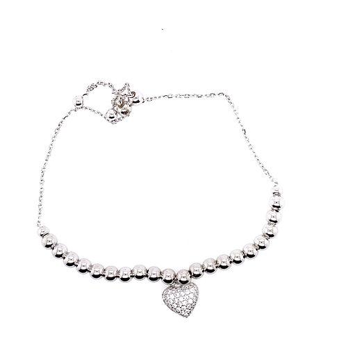 Sterling Silver Heart Bolo Style Bracelet