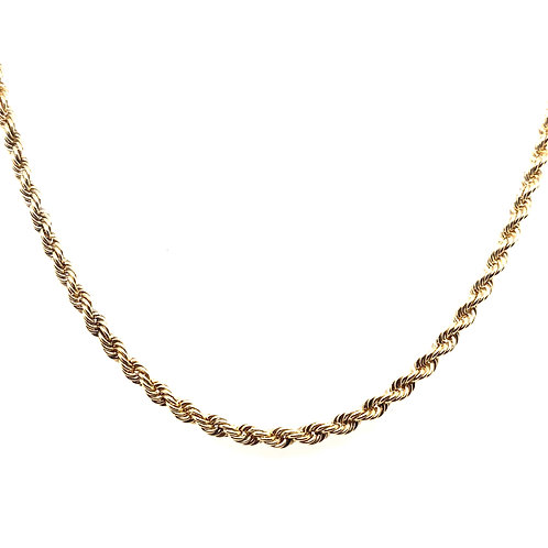 Estate 14kt Yellow Gold Diamond Cut Rope Chain