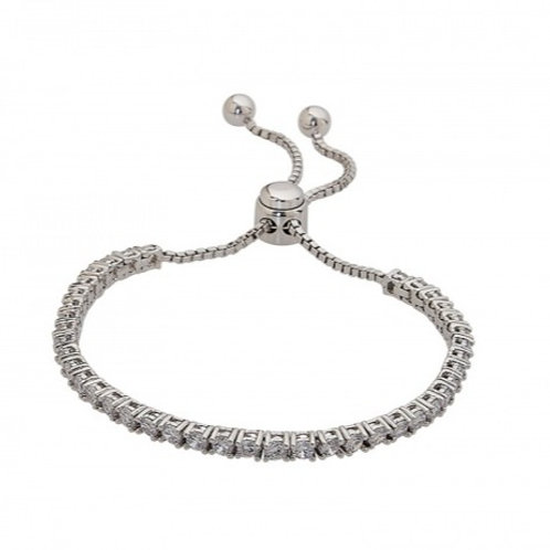 Sterling Silver Cubic Zirconia Tennis Style Adjustable Bracelet