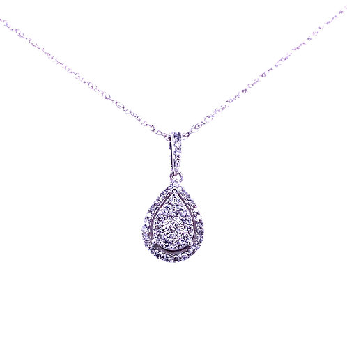 14kt White Gold Pear Shaped Diamond Cluster Pendant