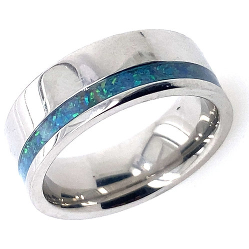 Cobalt Wedding Band with Opal Inlay