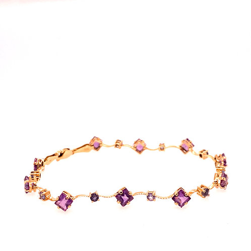 Estate 14kt Yellow Gold Amethyst And Tanzanite Bracelet