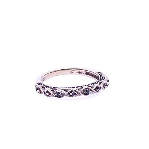 Estate 10kt White Gold Black Diamond Band