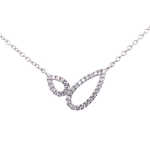 Sterling Silver Cubic Zirconia Open Double Pear Shape Necklace