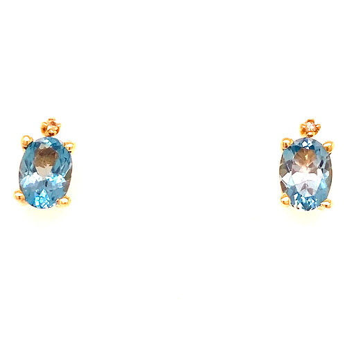 Estate 10kt Yellow Gold Blue Topaz With Diamond Earrings