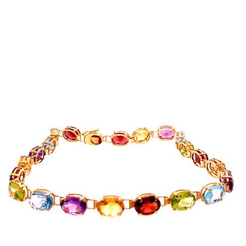 Estate 14kt Yellow Gold Multi Colored Stone Bracelet