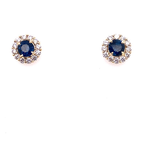 14kt Yellow Gold Blue Sapphire And Diamond Halo Earrings