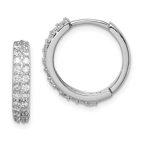 Sterling Silver Cubic Zirconia Hinged Hoop Earrings