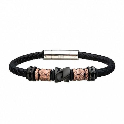 Leather Stainless Steel Rose/Black Fancy Bead Bracelet