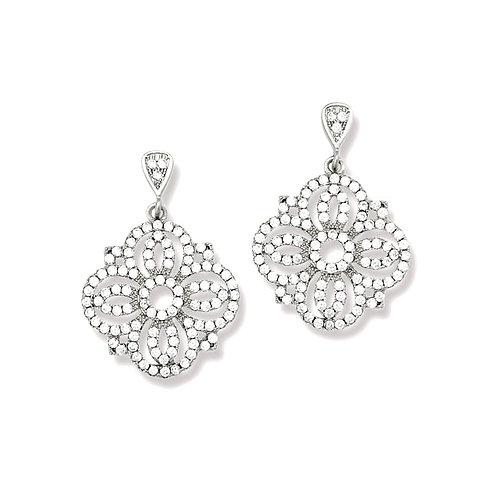 Sterling Silver Cubic Zirconia Flower Design Dangle Earrings