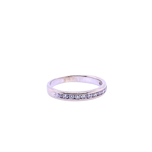 Estate 14kt White Gold Diamond Channel Band