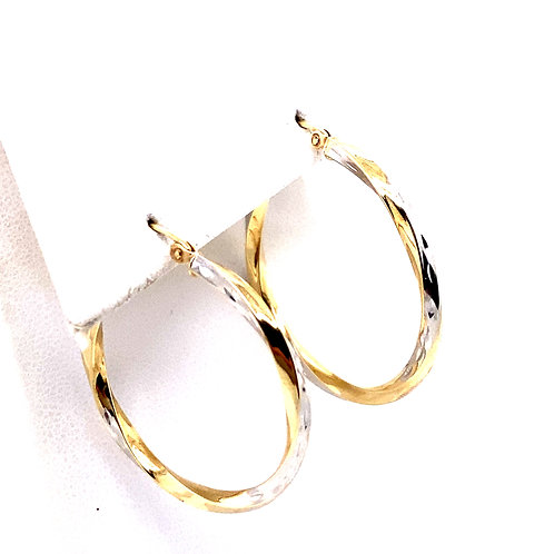 Estate 14kt Two Toned Gold Twist Hoop Earrings