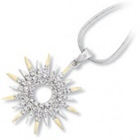 Sterling Silver Two Tone Cubic Zirconia Sundial Pendant