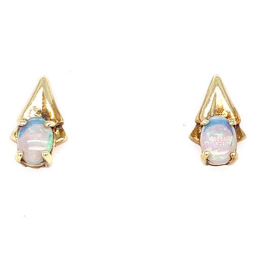 Estate 14kt Yellow Gold Opal Fancy Earrings