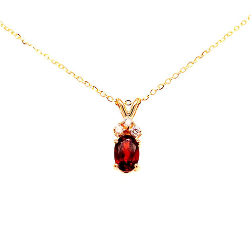 14kt Yellow Gold Oval Garnet And Diamond Pendant