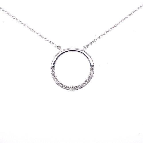 14kt White Gold Diamond Diamond Circle Pendant