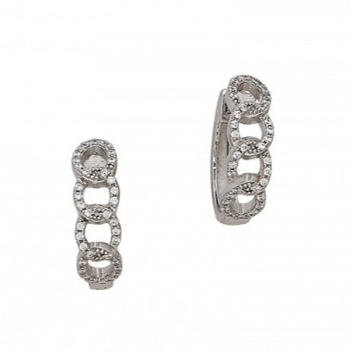Sterling Silver Cubic Zirconia Circles Hoop Earrings