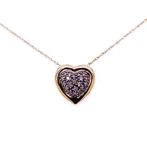 Estate 14kt Yellow Gold Champagne Diamond Heart Pendant